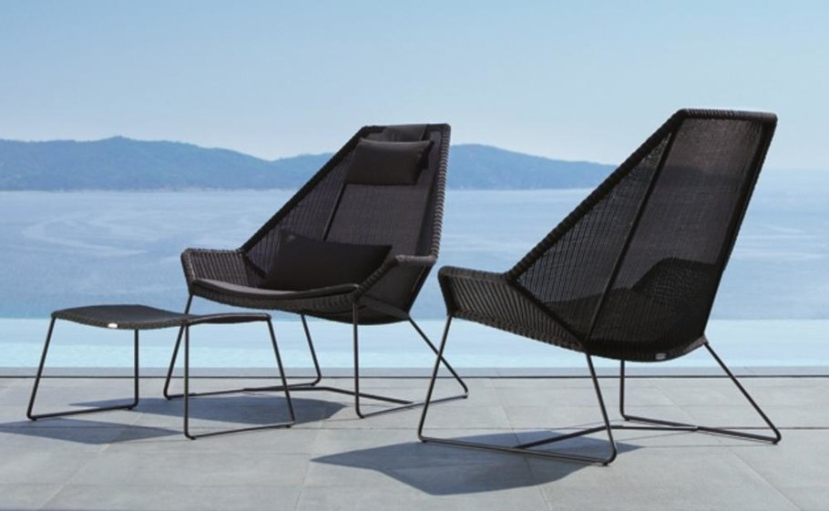 Lounge chair xl met ottoman wit leer walnoot hout cavel design